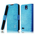 IMAK Slim leather Cases Luxury Holster Covers for Huawei U9500 Ascend D1 - Blue