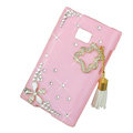 Bling Flower Crystal Cover Diamond Cases for LG Optimus L3 E400 - Pink