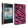 Bling Zebra Crystal Cover Diamond Rhinestone Cases for LG Optimus L3 E400 - Rose