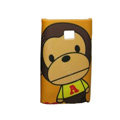 Cartoon PAKA Monkey Matte Cases Hard Covers for LG Optimus L3 E400 - Yellow