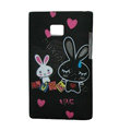 Cartoon Rabbit Matte Cases Hard Covers for LG Optimus L3 E400 - Black