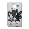Cartoon Rabbit Matte Cases Hard Covers for LG Optimus L3 E400 - White