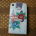 Ed Hardy DEDICATED ONE I LOVE Flip leather Cases Holster Covers for iPhone 3G/3GS - White