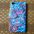 Ed Hardy Devil Flip leather Cases Holster Covers Skin for iPhone 4G/4S - Blue
