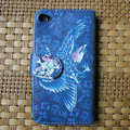 Ed Hardy Eagle Skull Flip leather Cases Holster Covers Skin for iPhone 4G/4S - Blue