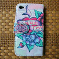 Ed Hardy Flower Flip leather Cases Holster Covers Skin for iPhone 4G/4S - White