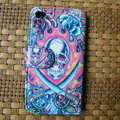 Ed Hardy Skull Dagger leather Cases Holster Covers Skin for iPhone 4G/4S - Red