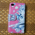 Ed Hardy Skull Devil Flip leather Cases Holster Covers Skin for iPhone 4G/4S - Pink