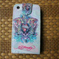 Ed Hardy Skull Devil Flip leather Cases Holster Covers for iPhone 3G/3GS - White