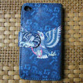 Ed Hardy Skull Eagle Flip leather Cases Holster Covers Skin for iPhone 4G/4S - Blue