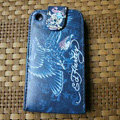 Ed Hardy Skull Eagle Flip leather Cases Holster Covers for iPhone 3G/3GS - Blue
