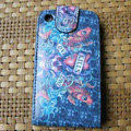 Ed Hardy Skull FISH Flip leather Cases Holster Covers for iPhone 3G/3GS - Blue