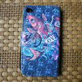 Ed Hardy Skull Fish leather Cases Holster Covers Skin for iPhone 4G/4S - Blue