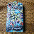 Ed Hardy Skull GLORY Flip leather Cases Holster Covers for iPhone 3G/3GS - Blue