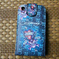 Ed Hardy Skull KILLS Flip leather Cases Holster Covers for iPhone 3G/3GS - Blue