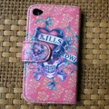 Ed Hardy Skull SKILLS Flip leather Cases Holster Covers Skin for iPhone 4G/4S - Red