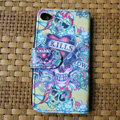 Ed Hardy Skull SKILLS Flip leather Cases Holster Covers Skin for iPhone 4G/4S - Yellow