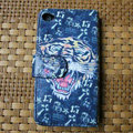 Ed Hardy Tiger Flip leather Cases Holster Covers Skin for iPhone 4G/4S - Blue