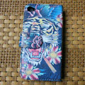 Ed Hardy Tiger Flip leather Cases Holster Covers Skin for iPhone 4G/4S - Red