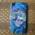 Ed Hardy Tiger Flip leather Cases Holster Covers for iPhone 4G/4S - Blue