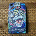 Ed Hardy Tigers Flip leather Cases Holster Covers Skin for iPhone 3G/3GS - Blue