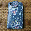 Ed Hardy Tigers Flip leather Cases Holster Covers for iPhone 3G/3GS - Blue