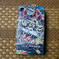 Ed Hardy Tigers Flip leather Cases Holster Covers for iPhone 3G/3GS - Red