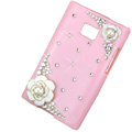 Flower Bling Crystal Cover Diamond Cases for LG Optimus L3 E400 - Pink