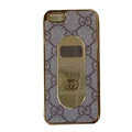 GUCCI Luxury leather Cases Hard Back Covers for iPhone 5 - Coffee