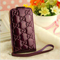 GUCCI leather Cases Luxury Holster Covers Skin for iPhone 5 - Purple