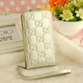 GUCCI leather Cases Luxury Holster Covers Skin for iPhone 5 - White