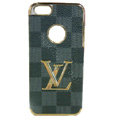 LOUIS VUITTON LV Luxury leather Cases Hard Back Covers Skin for iPhone 5 - Grey