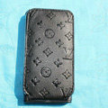 LV LOUIS VUITTON Flip leather Cases Holster Covers Skin for iPhone 3G/3GS - Black