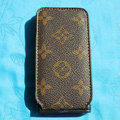 LV LOUIS VUITTON Flip leather Cases Holster Covers Skin for iPhone 3G/3GS - Brown