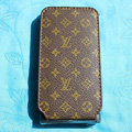 LV LOUIS VUITTON Flip leather Cases Holster Covers for iPhone 3G/3GS - Brown