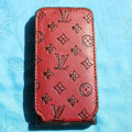 LV LOUIS VUITTON Flip leather Cases Holster Covers for iPhone 3G/3GS - Red