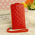LV LOUIS VUITTON leather Cases Luxury Holster Covers Skin for iPhone 5 - Red