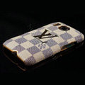 LV Louis Vuitton Cover leather Cases Holster Skin for HTC Desire HD G10 A9191 A9192 - Beige
