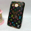 LV Louis Vuitton Cover leather Cases Holster Skin for HTC Desire HD G10 A9191 A9192 - Black