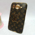 LV Louis Vuitton Cover leather Cases Holster Skin for HTC Desire HD G10 A9191 A9192 - Brown