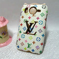 LV Louis Vuitton Cover leather Cases Holster Skin for HTC Desire HD G10 A9191 A9192 - White