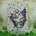 Luxury Bling Holster Covers Butterfly Crystal diamond Cases for iPhone 5 - Purple