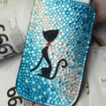 Luxury Bling Holster Covers Cat Crystal diamond Cases for iPhone 5 - Blue