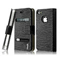 IMAK Slim leather Cases Luxury Holster Covers for iPhone 4G\4S - Black