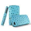 IMAK The Count leather Cases Luxury Holster Covers for iPhone 4G\4S - Blue (High transparent screen protector)