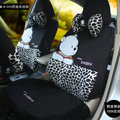 Fashion Bear Leopard Cartoon Universal Auto Car Seat Covers Short velvet 18pcs - Black
