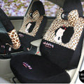 Fashion ddung Leopard Cartoon Universal Auto Car Seat Covers Short velvet 18pcs - Black