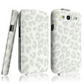 IMAK Leopard leather Cases Luxury Holster Covers for Samsung Galaxy SIII S3 I9300 I9308 I939 I535 - White