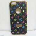 LV LOUIS VUITTON leather Cases Luxury Hard Back Covers Skin for iPhone 5 - Black