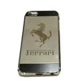 Luxury Plated metal Hard Back Cases Ferrari Covers for iPhone 5 - Grey